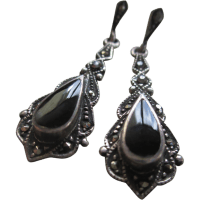 Silver 925 Black Onyx and Hematite Dangle Post Earrings ...