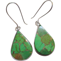 Silver /925 Natural Gaspeite Stone Wire Earrings from ...