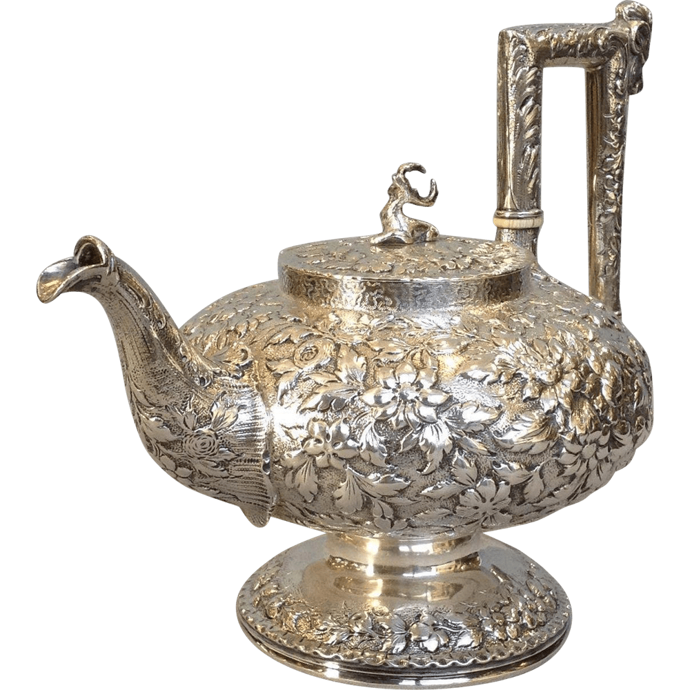 Kirk And Sons Repousee 11 Ounce Coin Silver Teapot 19th