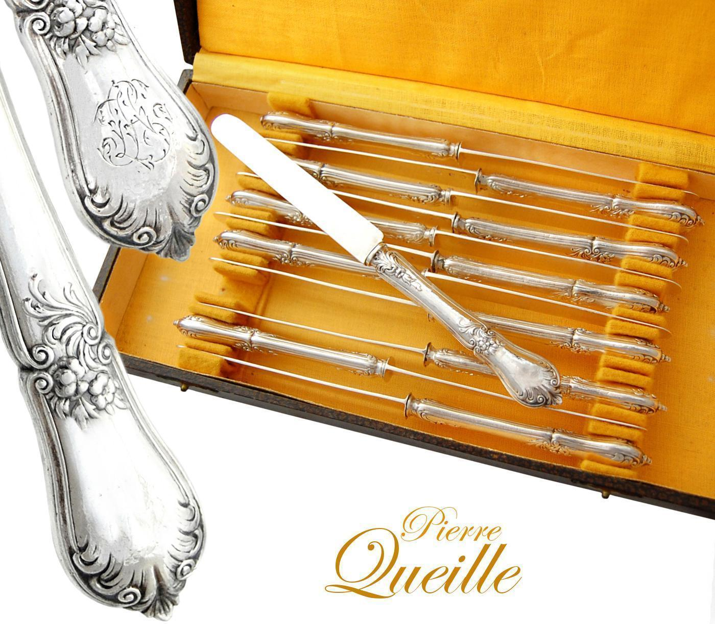 Boxed French Sterling Silver Dessert 12pc Knife Set From