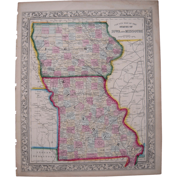 1861 Hand Colored Map Iowa Missouri Blue Spruce Rugs