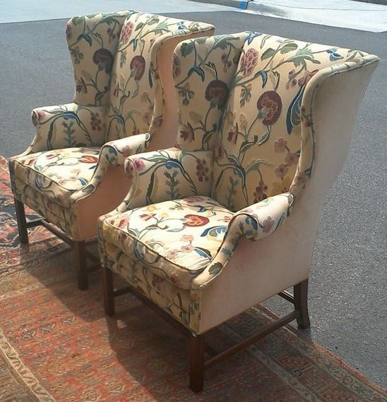 leather club chairs for sale power wheelchair batteries pair beautiful crewel chippendale wingback - red tag item sold on ruby lane