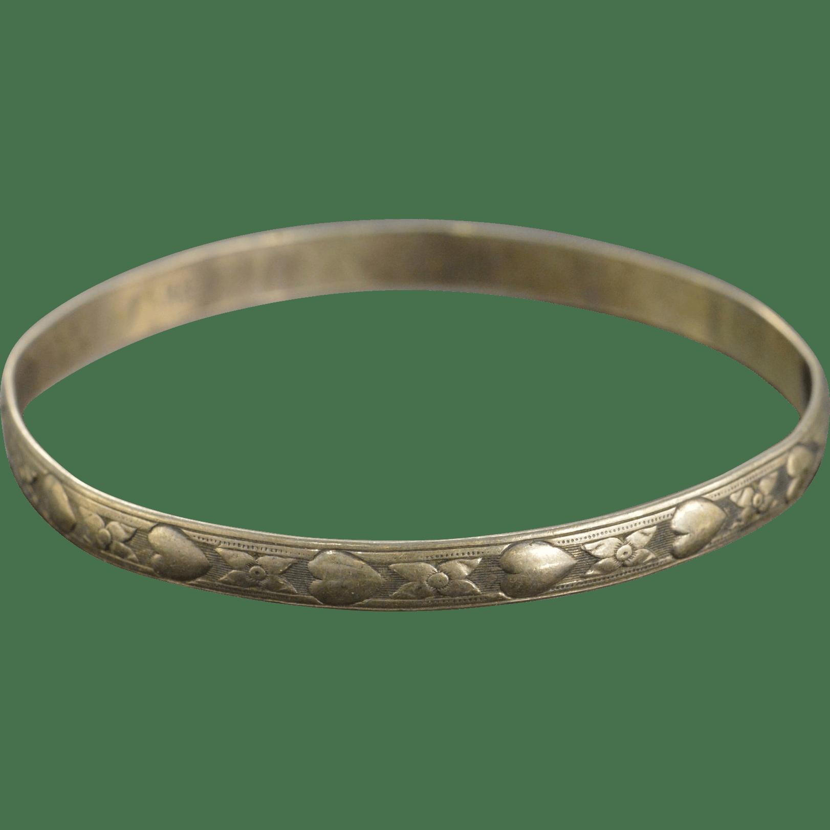 Danecraft Sterling Flower Heart Design Bangle Bracelet