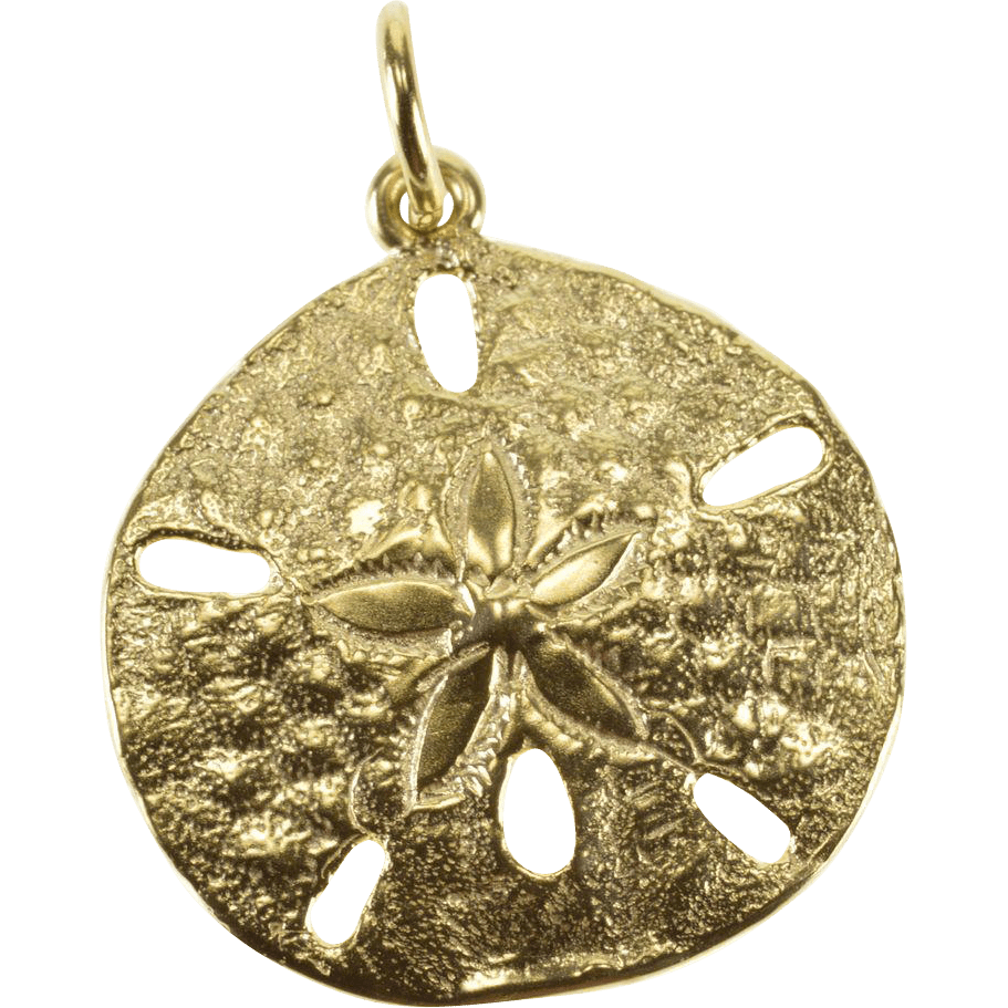 14k Textured Sand Dollar Sea Shell Charm Pendant Yellow Gold Curiouscabinet Ruby Lane