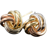 14K Knot Stud Earrings Tri Color Gold from curiouscabinet