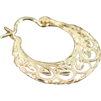 14K Filigree Hoop Earrings Yellow Gold from curiouscabinet ...