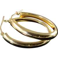 14K Oval Hollow Hoop Earrings Yellow Gold from ...