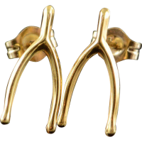 14K Wishbone Stud Earrings Yellow Gold from curiouscabinet ...