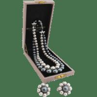 Japanese Vintage Faux Tahitian Black Pearl Set Necklace ...