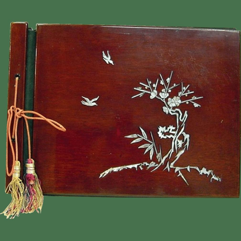 Japanese Antique 19th C Lacquered Cherry Wood Photo Album