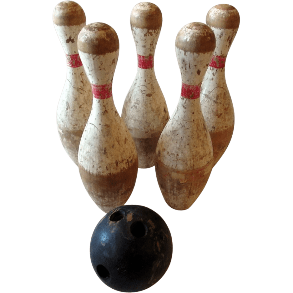 Vintage Wooden Bowling Pins