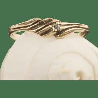Vintage 10 Karat Gold Diamond Ring : 24K Green | Ruby Lane