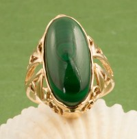 Vintage 14 Karat Gold Malachite Ring from 24kgreen on Ruby
