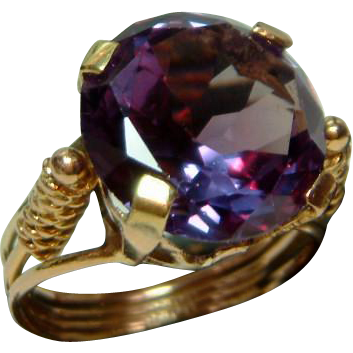 Lovely Antique 15ct Gold Alexandrite Gemstone Ring From