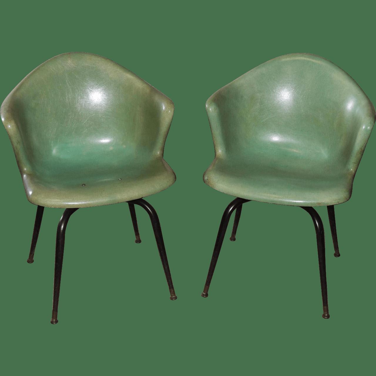 eames arm chair massage recliner chairs pair herman miller mid century fiberglass shell
