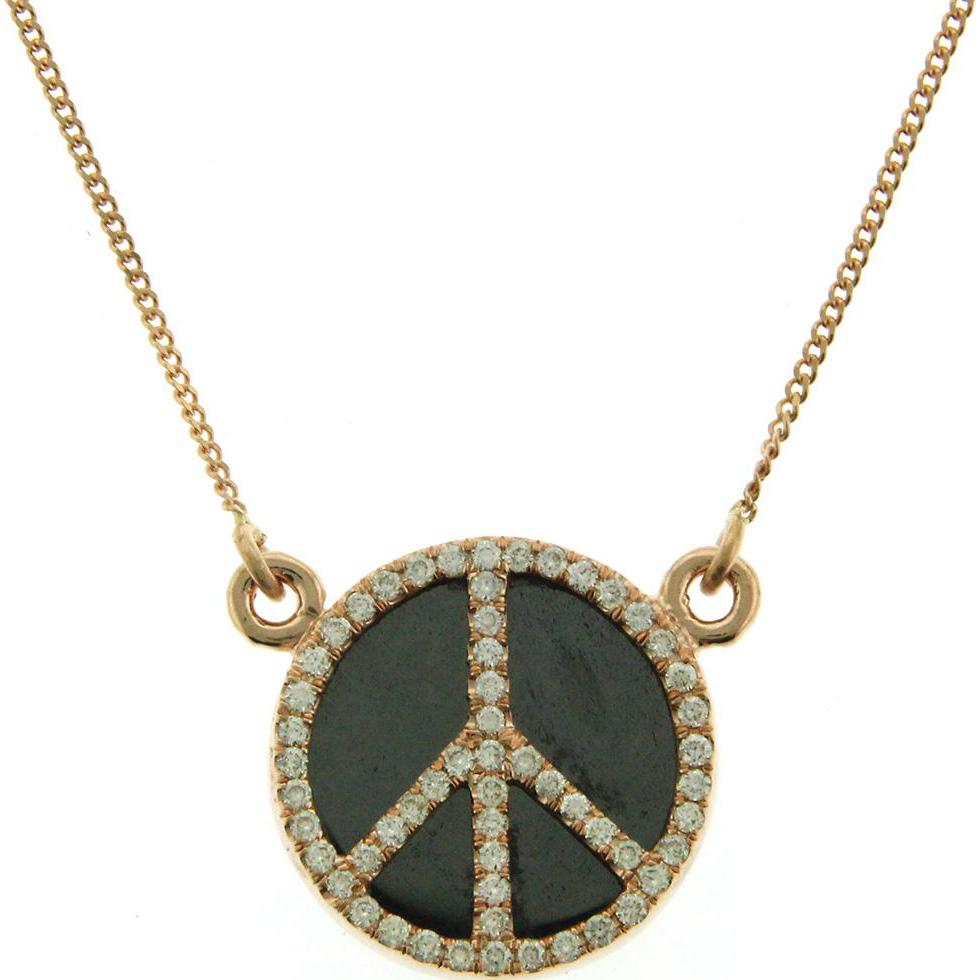 Karat Rose Gold Diamond And Hematite Peace Symbol Necklace. Pasarel Ruby Lane