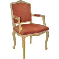 Vintage French Carved, Painted & Upholstered Arm Chair c ...