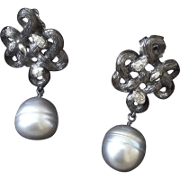 Stephen Dweck Diamond and Cultured Pearl Earrings SOLD on
