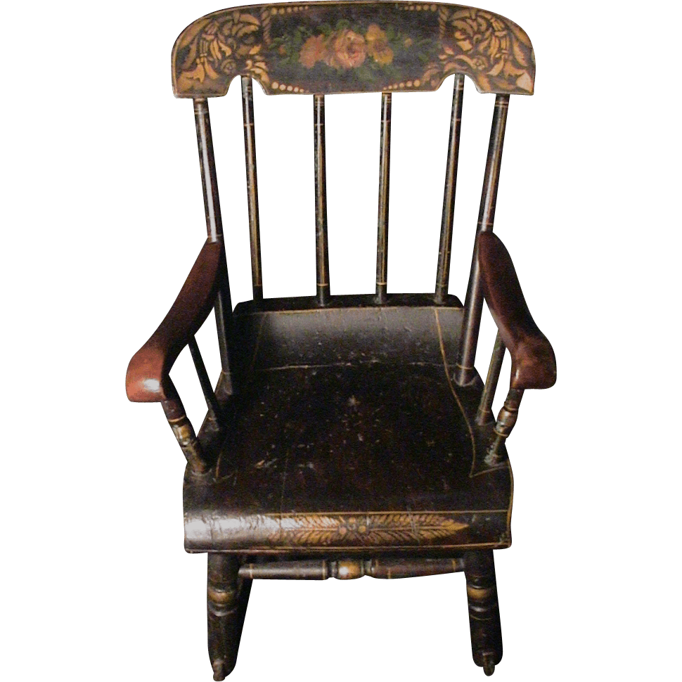 x rocker desk chair rentals south jersey antique child's rocking roses & stenciled 19th c. boston : ago | ruby lane