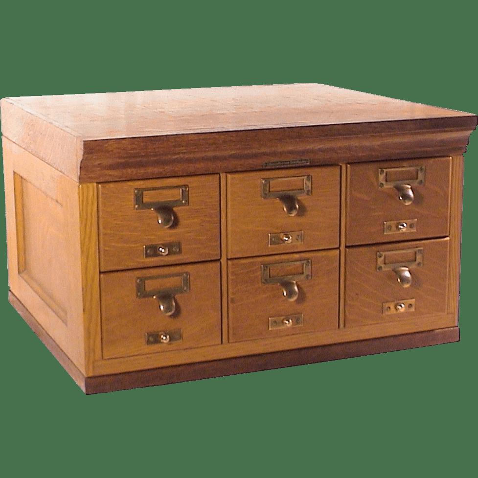 Oak 6 Drawer Card File Cabinet by Library Bureau