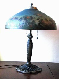 Signed Reverse Painted Pittsburgh Lamp from rubylane