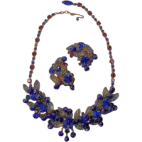 Superb Cobalt Blue/Purple rhinestone necklace and matching