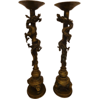 Fabulous Antique Chinese Bronze Temple Candle Holders ...