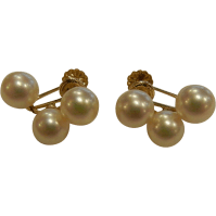 Vintage 14K Gold & Cultured Pearl Screw Back Earrings from ...