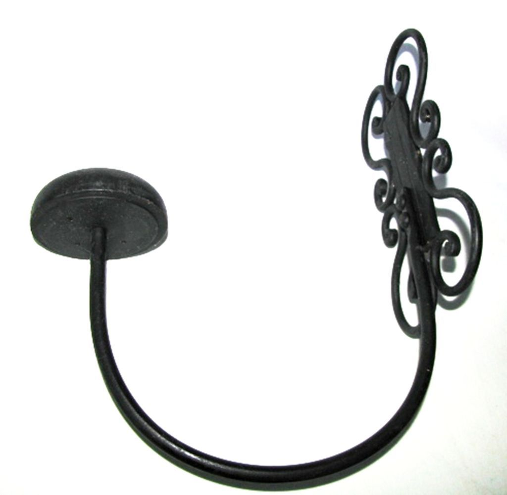 Decorative Arched Wrought Iron Wall Mount Hat Coat Rack Ball Wooden Utiques-antiques
