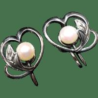 Estate Mikimoto Sterling Heart & Cultured Pearl Earrings ...
