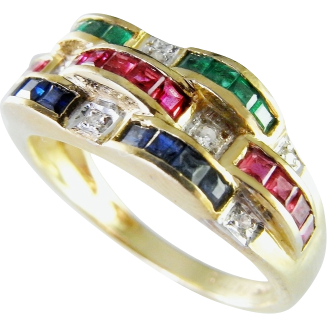 Bellarri Ruby Emerald Sapphire Diamond 14K Ring Natural