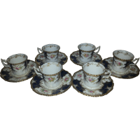Six Coalport Small Blue Batwing Coffee Cups and Saucers ...