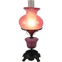 Fenton table lamp with Cranberry Spiral glass SOLD on Ruby