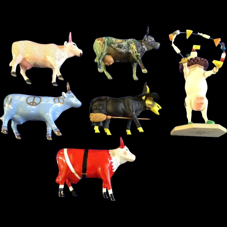 Cows Parade Figurines Santa Peace Moonet Oz Utterly