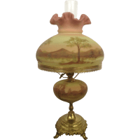1973 Gorgeous Fenton Burmese Student Lamp Hand Painted