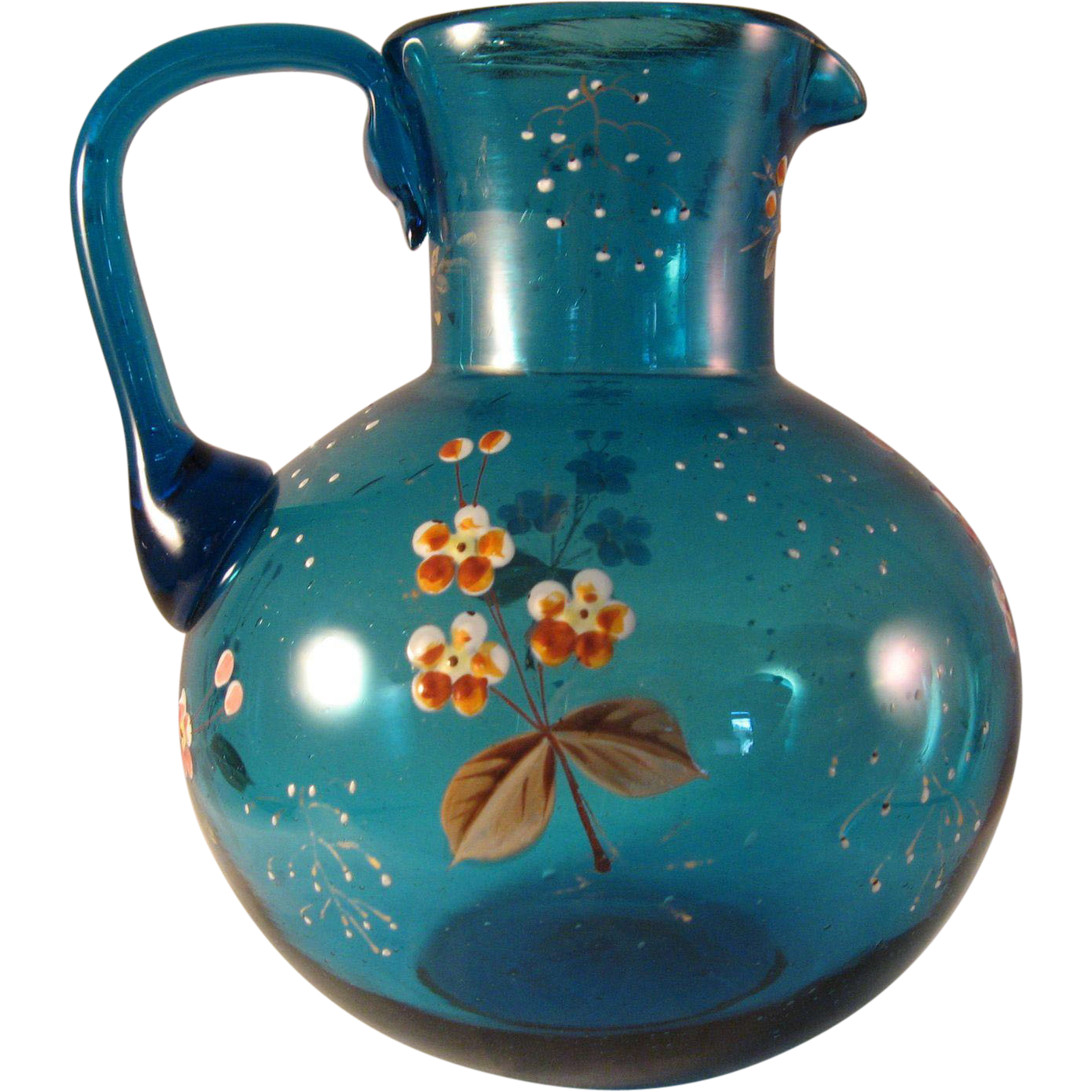 Vintage Aqua Blue Pitcher With Applied Handle And Small