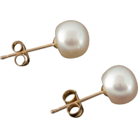 14K Pearl Stud Earrings 6mm from anntiquesandfinejewelry ...