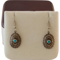Sterling Silver Concho Earrings with Turquoise from ...