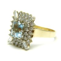 Emerald Cut Aquamarine and Diamond 14 Karat Gold Ring from