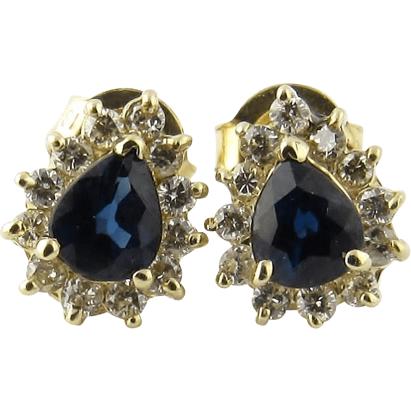 Vintage 14 Karat Yellow Gold Sapphire And Diamond Earrings Ctgoldcustomers Ruby Lane