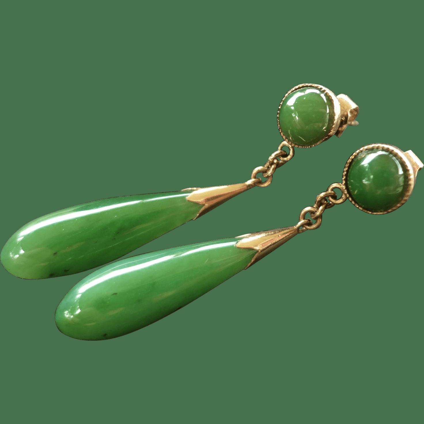 Vintage Chinese 14k Green Jade Earrings from jools4u on