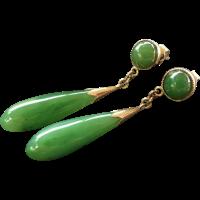 Vintage Chinese 14k Green Jade Earrings from jools4u on ...