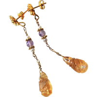 Vintage 1970's Carved Yellow Citrine Amethyst Pearl ...