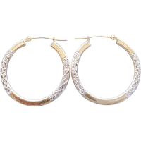 Two Tone solid 10 Karat Gold Hoop Earrings Diamond Cut By