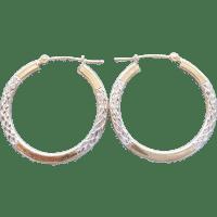Two Tone solid 10 Karat Gold Hoop Earrings Diamond Cut By ...