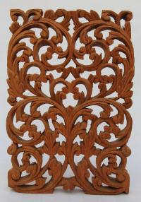 Vintage Arabic Style Wood Carved Window Panel - Floral ...