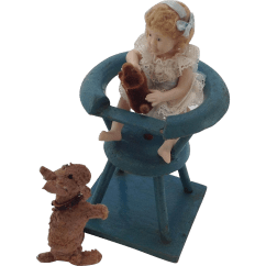 Dog High Chair Teal Leather Old Doll House And With Bisque Girl