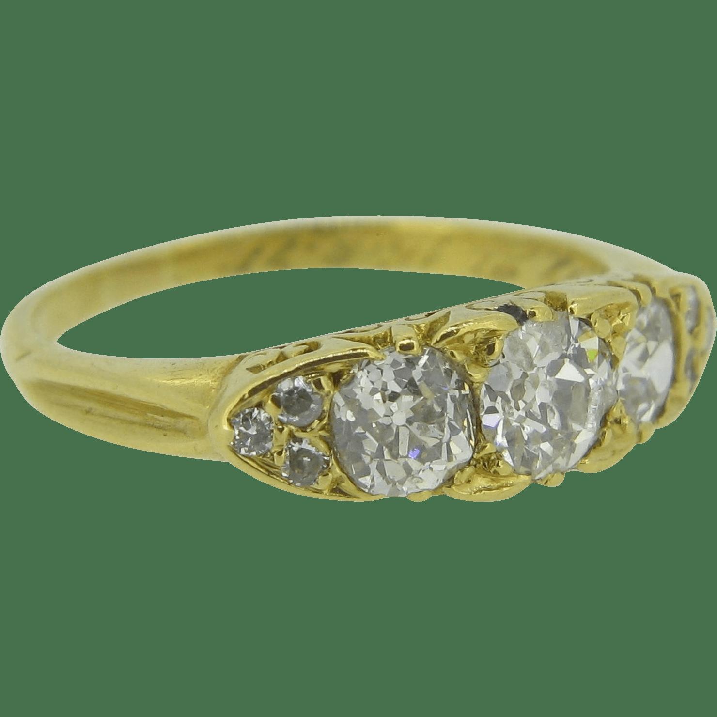 Victorian diamonds ring 18 karat yellow gold from heritagem on Ruby Lane