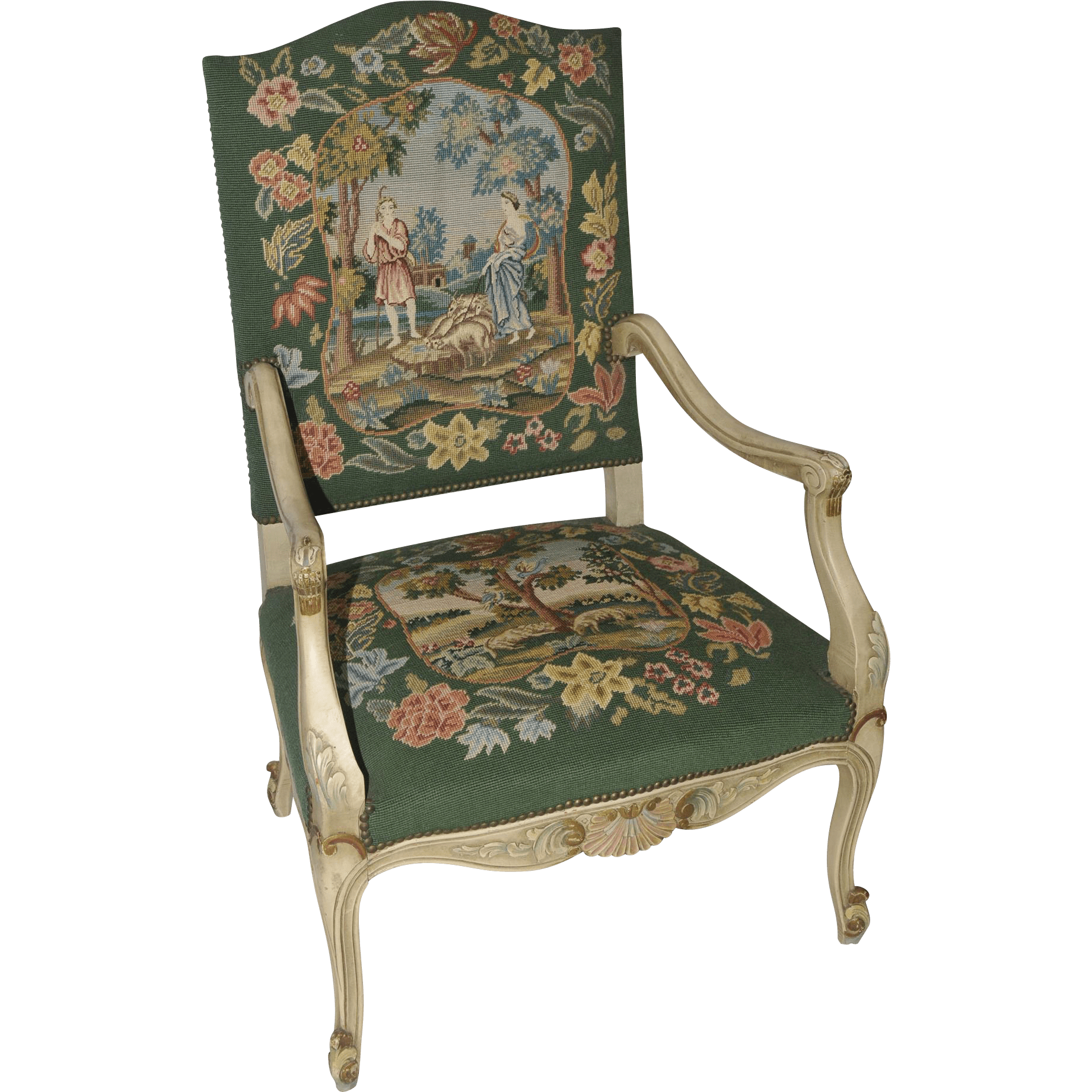 antique needlepoint chair jungle animal chairs beautiful vintage french arm lovely