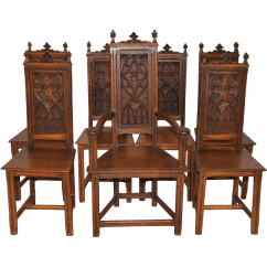 Medieval Dining Chairs Plastic Outside Table And Antique French Gothic Complete Set Of 7 Six